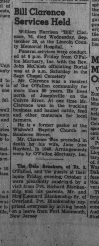 Sage Chapel O'Fallon Community News 6 Oct 1965